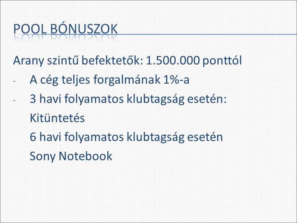 Arany szintű befektetők: 1.500.000 ponttól - A cég teljes forgalmának 1%-a - 3 havi folyamatos klubtagság esetén: Kitüntetés 6 havi folyamatos klubtagság esetén Sony Notebook