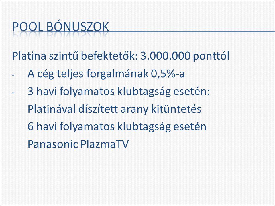 Platina szintű befektetők: 3.000.000 ponttól - A cég teljes forgalmának 0,5%-a - 3 havi folyamatos klubtagság esetén: Platinával díszített arany kitüntetés 6 havi folyamatos klubtagság esetén Panasonic PlazmaTV