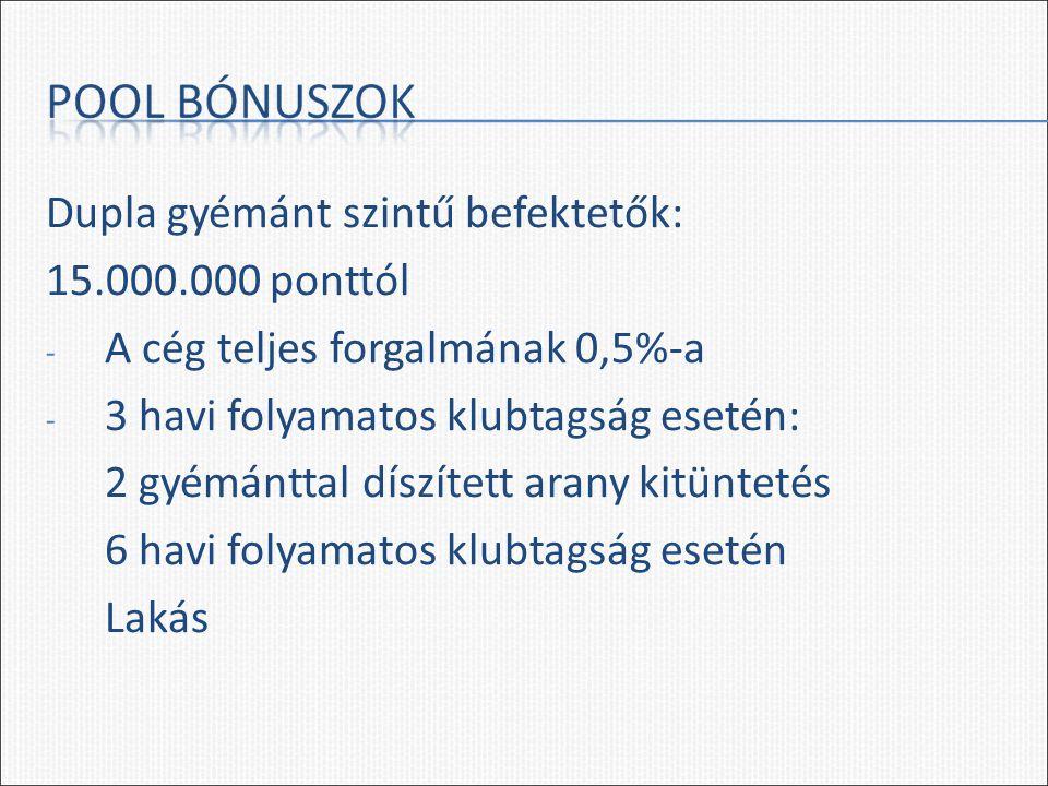 Dupla gyémánt szintű befektetők: 15.000.000 ponttól - A cég teljes forgalmának 0,5%-a - 3 havi folyamatos klubtagság esetén: 2 gyémánttal díszített ar