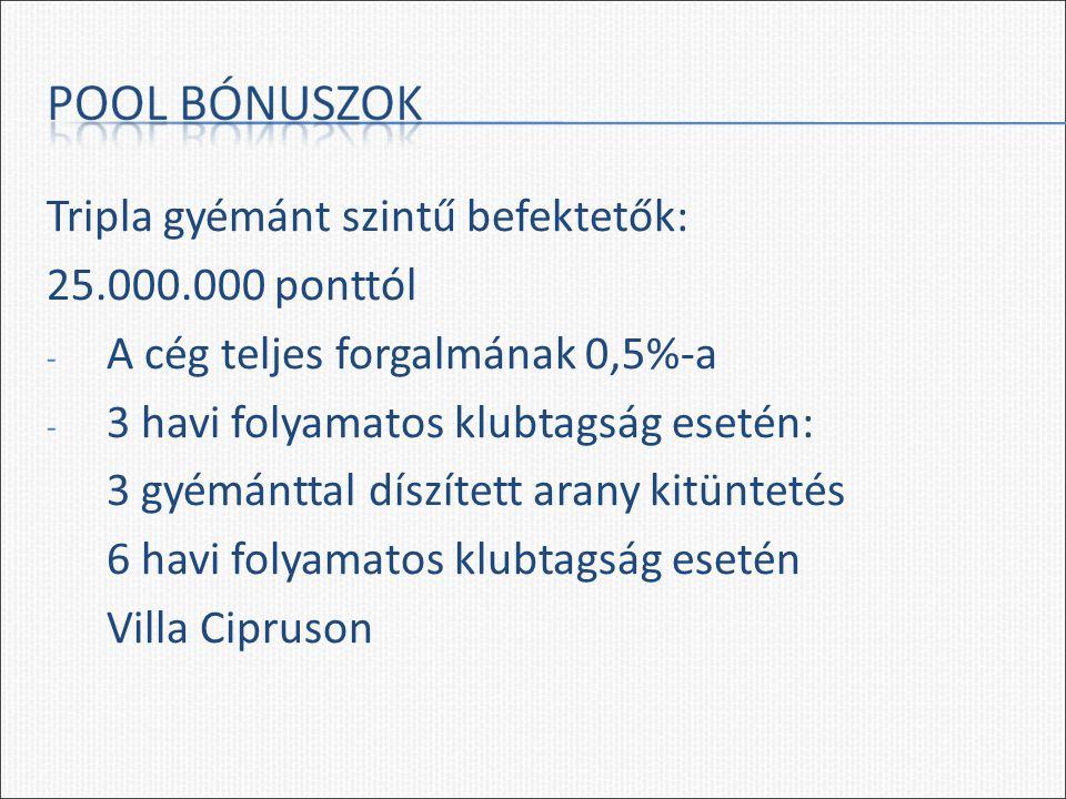 Tripla gyémánt szintű befektetők: 25.000.000 ponttól - A cég teljes forgalmának 0,5%-a - 3 havi folyamatos klubtagság esetén: 3 gyémánttal díszített arany kitüntetés 6 havi folyamatos klubtagság esetén Villa Cipruson