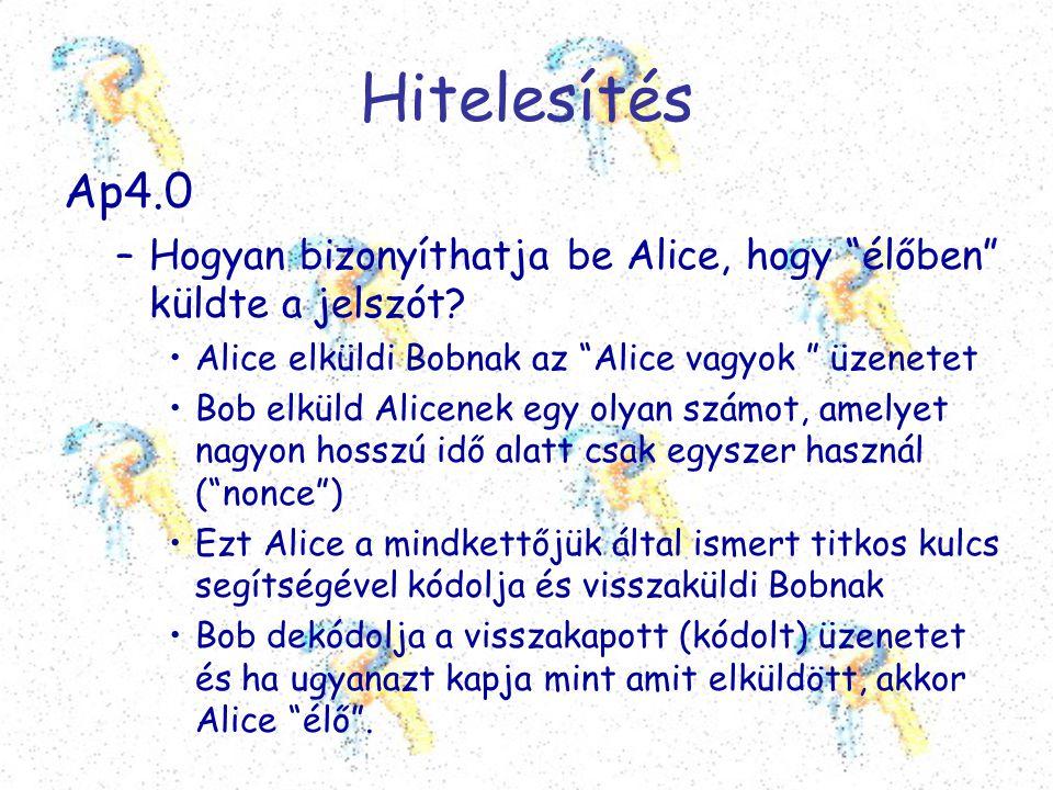 """Hitelesítés Ap4.0 –Hogyan bizonyíthatja be Alice, hogy """"élőben"""" küldte a jelszót? •Alice elküldi Bobnak az """"Alice vagyok """" üzenetet •Bob elküld Alicen"""