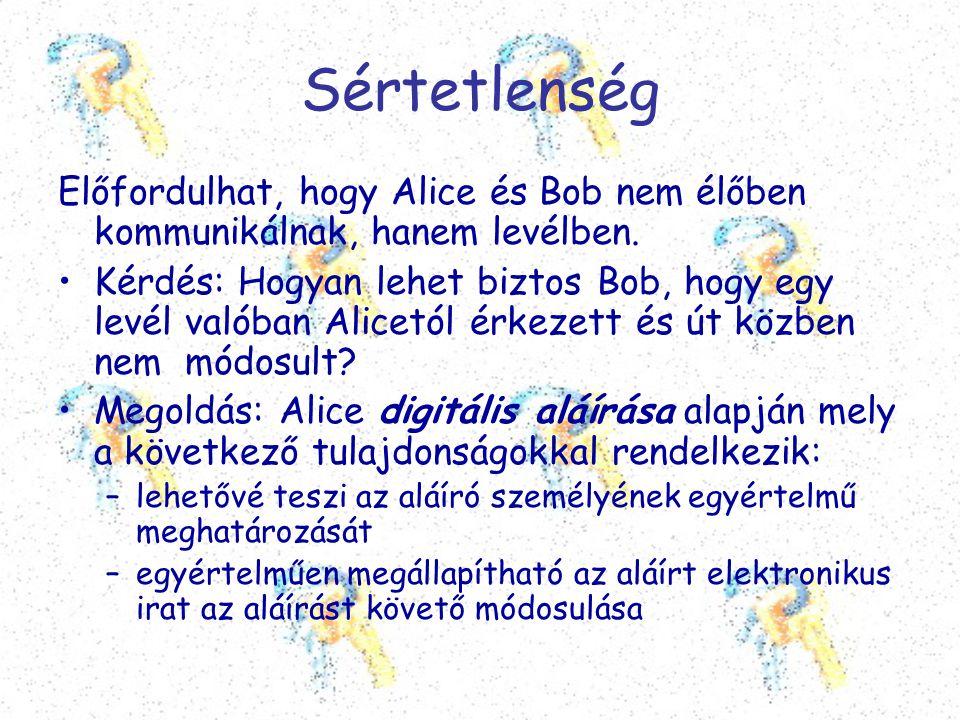 Sértetlenség Előfordulhat, hogy Alice és Bob nem élőben kommunikálnak, hanem levélben. •Kérdés: Hogyan lehet biztos Bob, hogy egy levél valóban Alicet