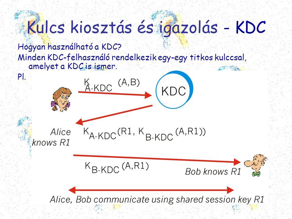 Kulcs kiosztás és igazolás - KDC Hogyan használható a KDC? Minden KDC-felhasználó rendelkezik egy-egy titkos kulccsal, amelyet a KDC is ismer. Pl.