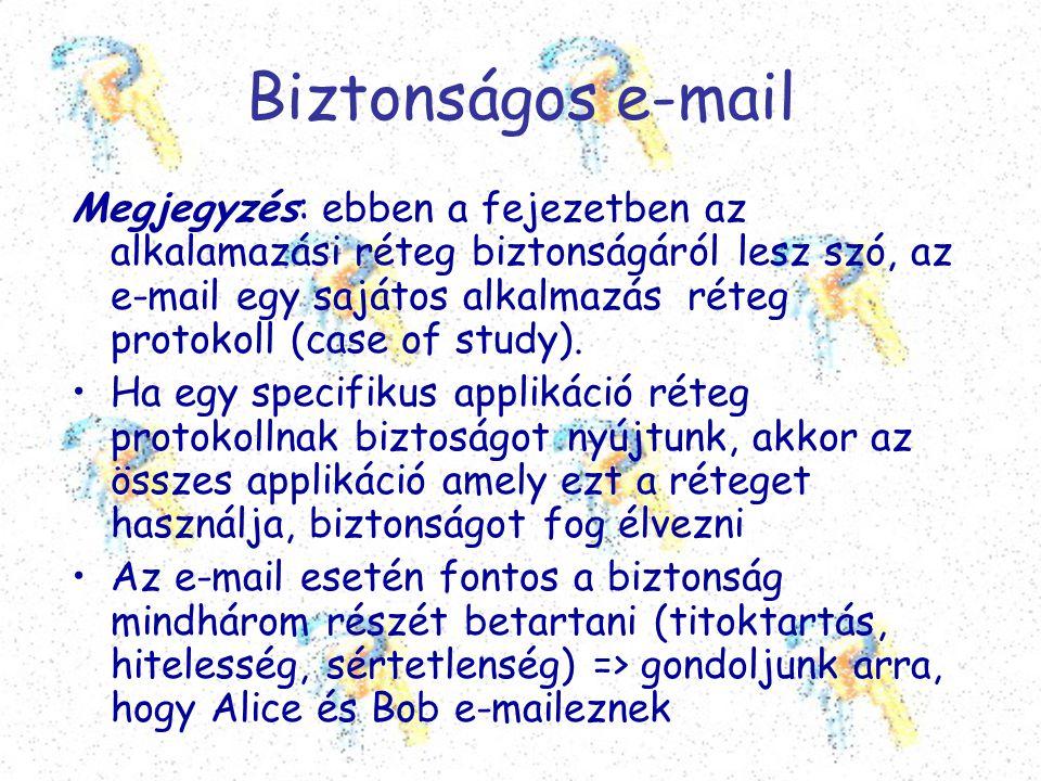 Biztonságos e-mail Megjegyzés: ebben a fejezetben az alkalamazási réteg biztonságáról lesz szó, az e-mail egy sajátos alkalmazás réteg protokoll (case