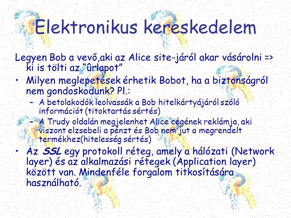 """Elektronikus kereskedelem Legyen Bob a vevő,aki az Alice site-járól akar vásárolni => ki is tölti az """"ûrlapot"""" •Milyen meglepetések érhetik Bobot, ha"""