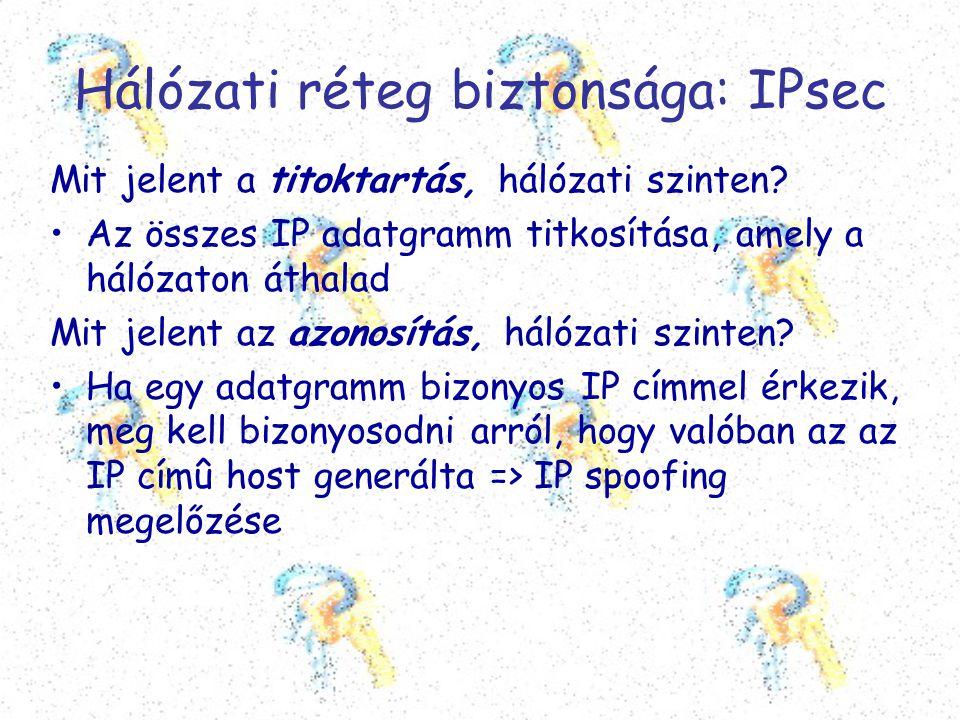 Hálózati réteg biztonsága: IPsec Mit jelent a titoktartás, hálózati szinten? •Az összes IP adatgramm titkosítása, amely a hálózaton áthalad Mit jelent