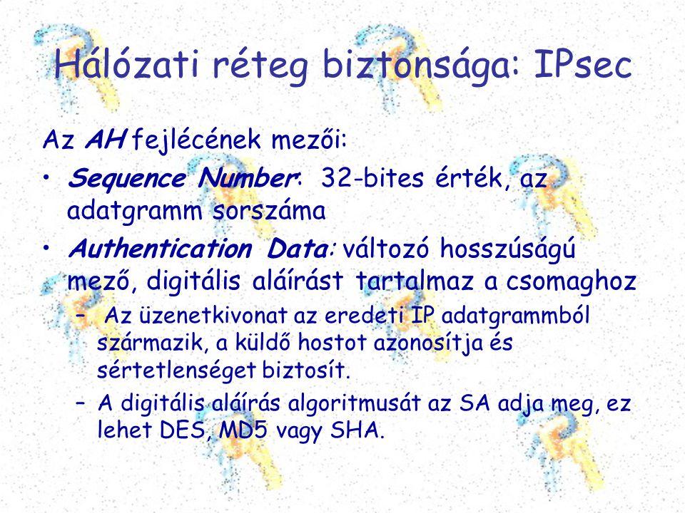 Hálózati réteg biztonsága: IPsec Az AH fejlécének mezői: •Sequence Number: 32-bites érték, az adatgramm sorszáma •Authentication Data: változó hosszús