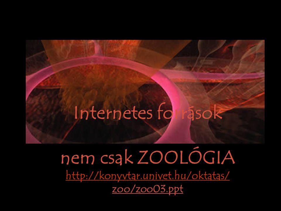 Internetes források nem csak ZOOLÓGIA http://konyvtar.univet.hu/oktatas/ zoo/zoo03.ppt http://konyvtar.univet.hu/oktatas/