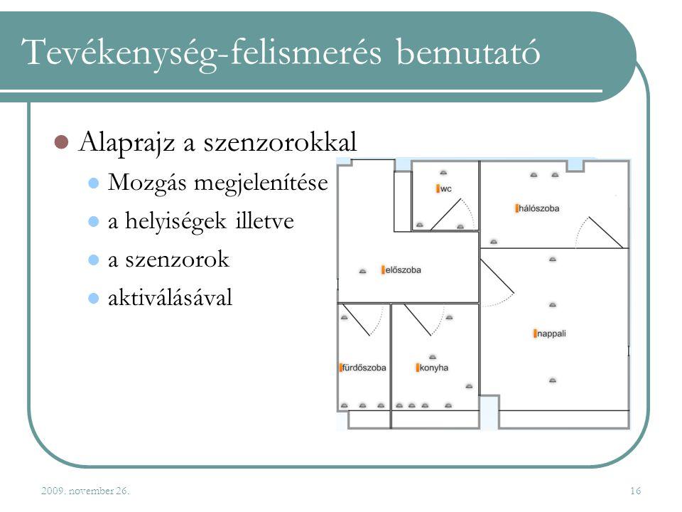 2009. november 26.16 Tevékenység-felismerés bemutató  Alaprajz a szenzorokkal  Mozgás megjelenítése  a helyiségek illetve  a szenzorok  aktiválás