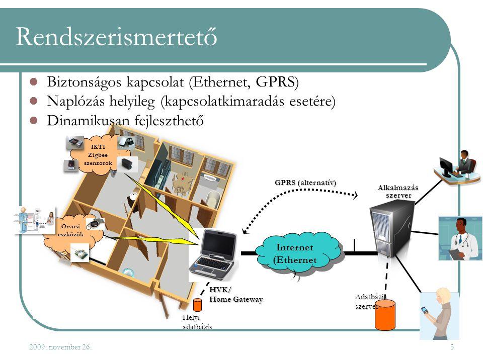 2009. november 26.5 Rendszerismertető Orvosi eszközök IKTI Zigbee szenzorok  Biztonságos kapcsolat (Ethernet, GPRS)  Naplózás helyileg (kapcsolatkim