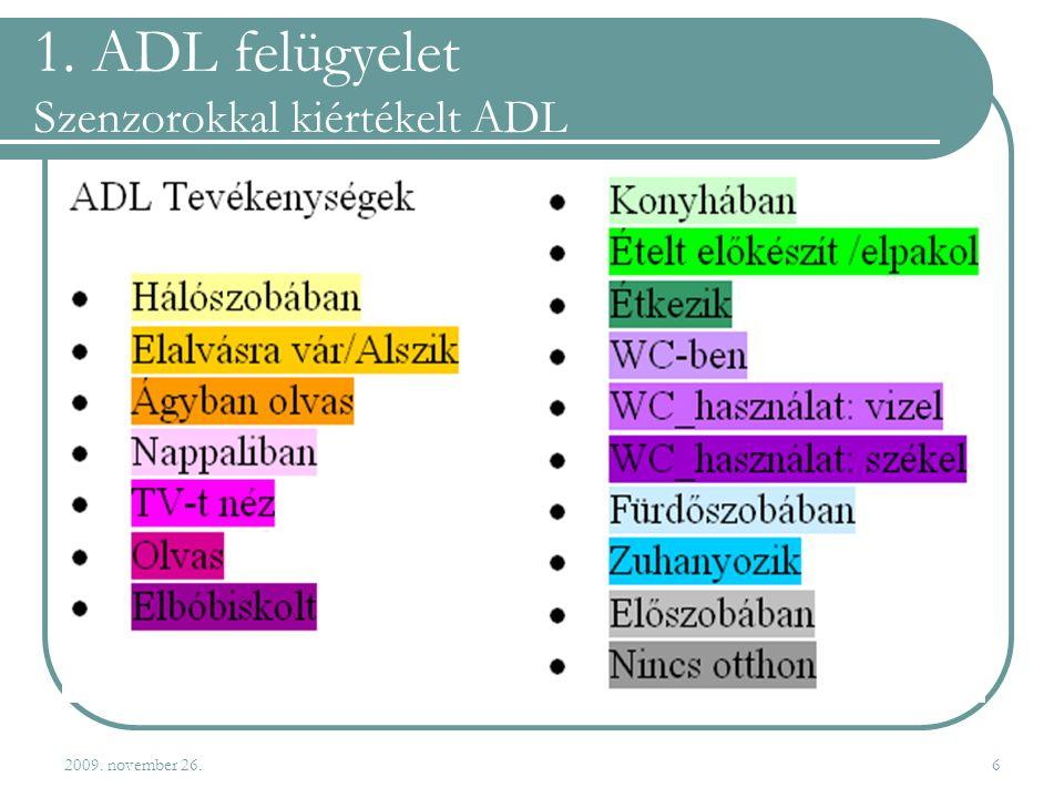 2009. november 26.6 1. ADL felügyelet Szenzorokkal kiértékelt ADL