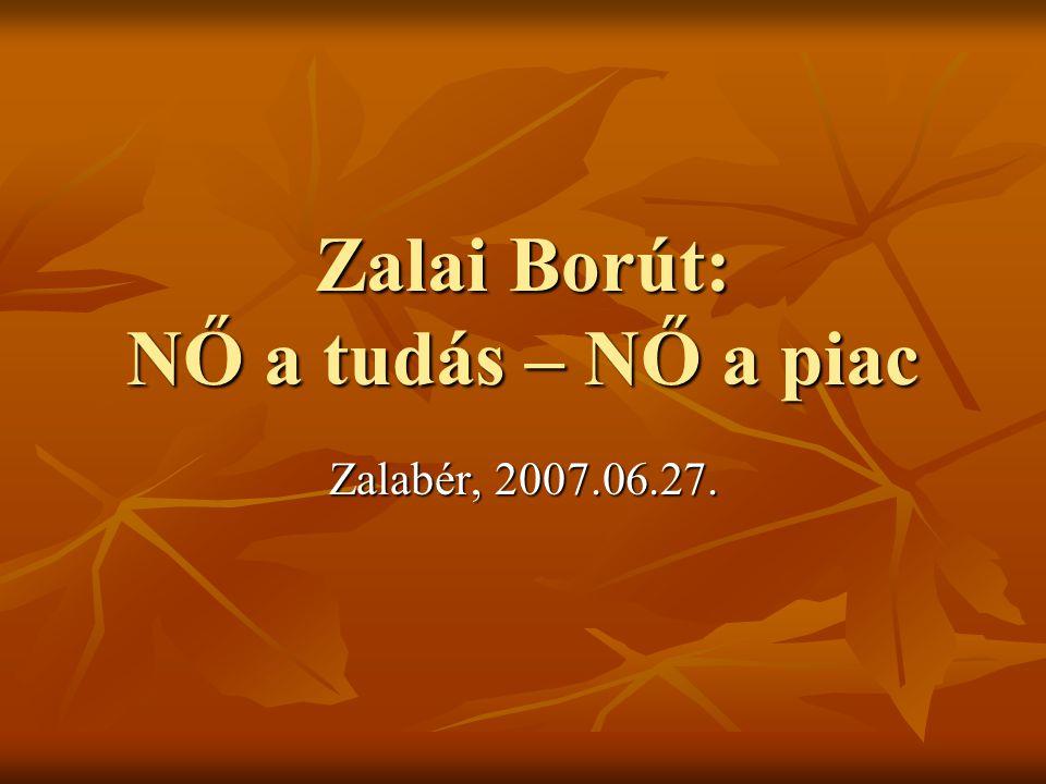 Zalai Borút: NŐ a tudás – NŐ a piac Zalabér, 2007.06.27.