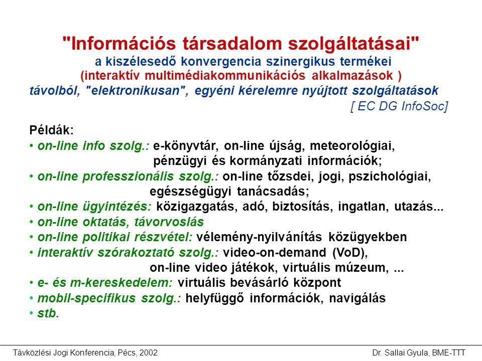 Távközlési Jogi Konferencia, Pécs, 2002Dr. Sallai Gyula, BME-TTT