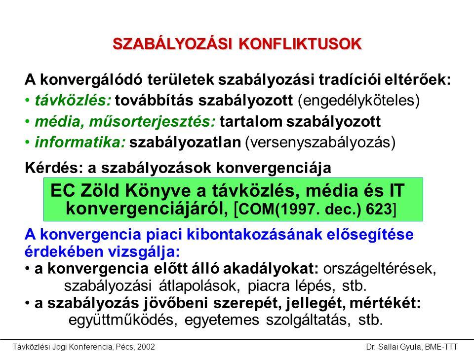 Távközlési Jogi Konferencia, Pécs, 2002Dr. Sallai Gyula, BME-TTT A konvergálódó területek szabályozási tradíciói eltérőek: • távközlés: továbbítás sza