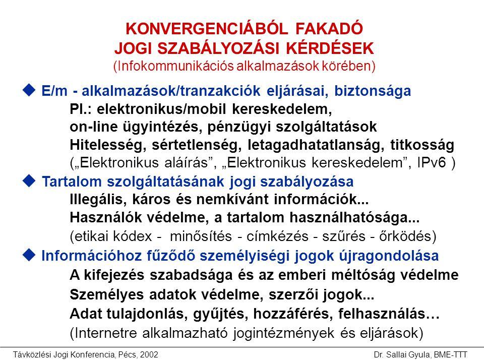 Távközlési Jogi Konferencia, Pécs, 2002Dr. Sallai Gyula, BME-TTT KONVERGENCIÁBÓL FAKADÓ JOGI SZABÁLYOZÁSI KÉRDÉSEK (Infokommunikációs alkalmazások kör
