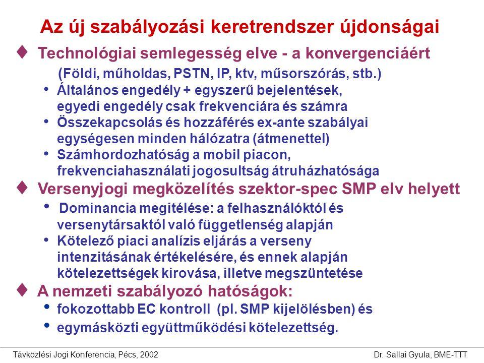 Távközlési Jogi Konferencia, Pécs, 2002Dr. Sallai Gyula, BME-TTT Az új szabályozási keretrendszer újdonságai  Technológiai semlegesség elve - a konve