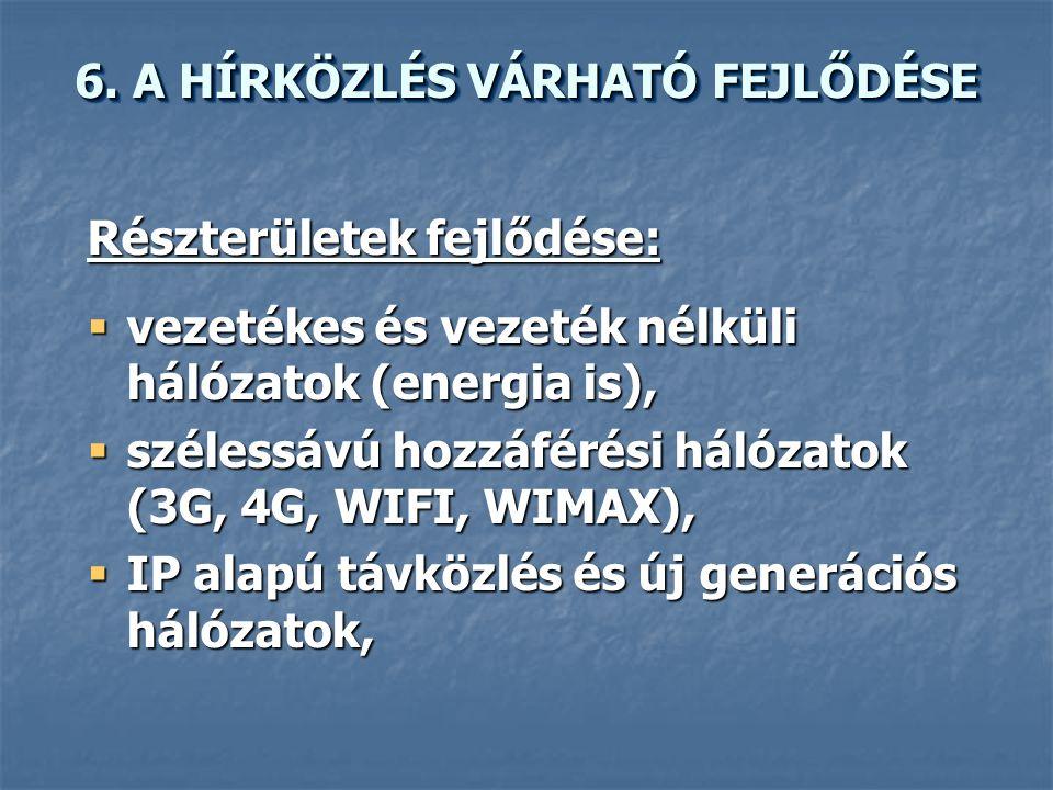Részterületek fejlődése:  vezetékes és vezeték nélküli hálózatok (energia is),  szélessávú hozzáférési hálózatok (3G, 4G, WIFI, WIMAX),  IP alapú távközlés és új generációs hálózatok, 6.