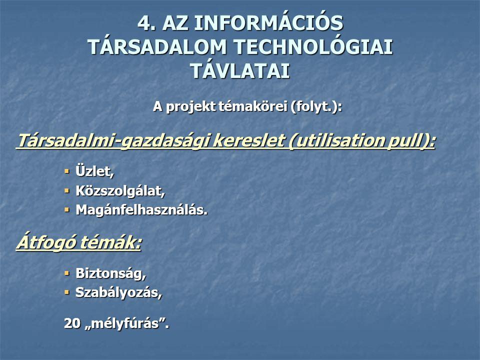 4. AZ INFORMÁCIÓS TÁRSADALOM TECHNOLÓGIAI TÁVLATAI A projekt témakörei (folyt.): Társadalmi-gazdasági kereslet (utilisation pull):  Üzlet,  Közszolg