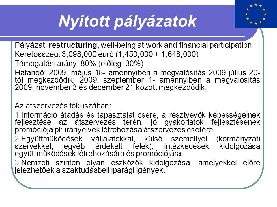 Nyitott pályázatok Pályázat: restructuring, well-being at work and financial participation Keretösszeg: 3,098,000 euró (1,450,000 + 1,648,000) Támogatási arány: 80% (előleg: 30%) Határidő: 2009.