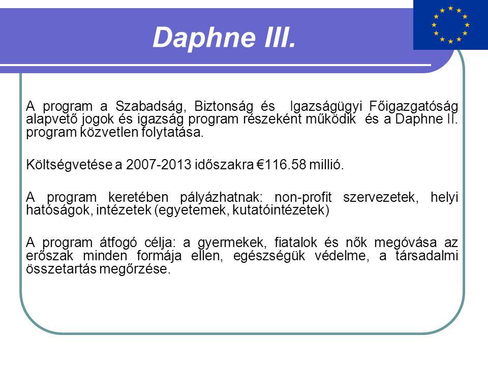 Daphne III. A program a Szabadság, Biztonság és Igazságügyi Főigazgatóság alapvető jogok és igazság program részeként működik és a Daphne II. program