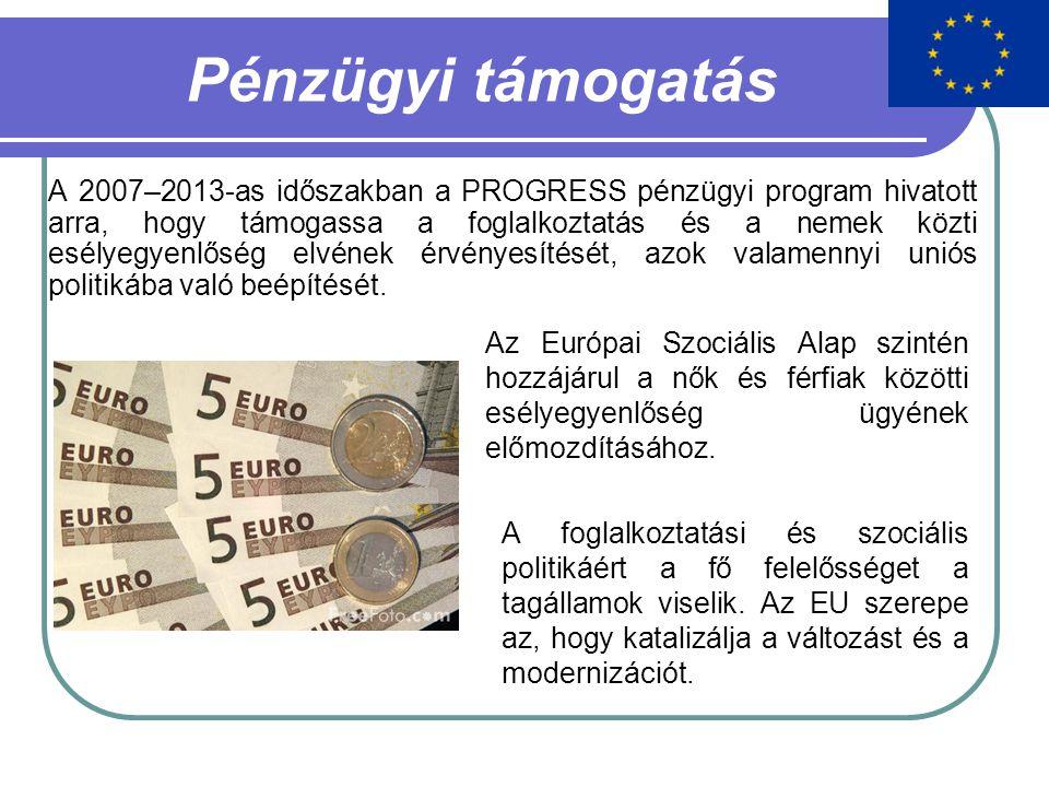 Pénzügyi támogatás A 2007–2013-as időszakban a PROGRESS pénzügyi program hivatott arra, hogy támogassa a foglalkoztatás és a nemek közti esélyegyenlőség elvének érvényesítését, azok valamennyi uniós politikába való beépítését.