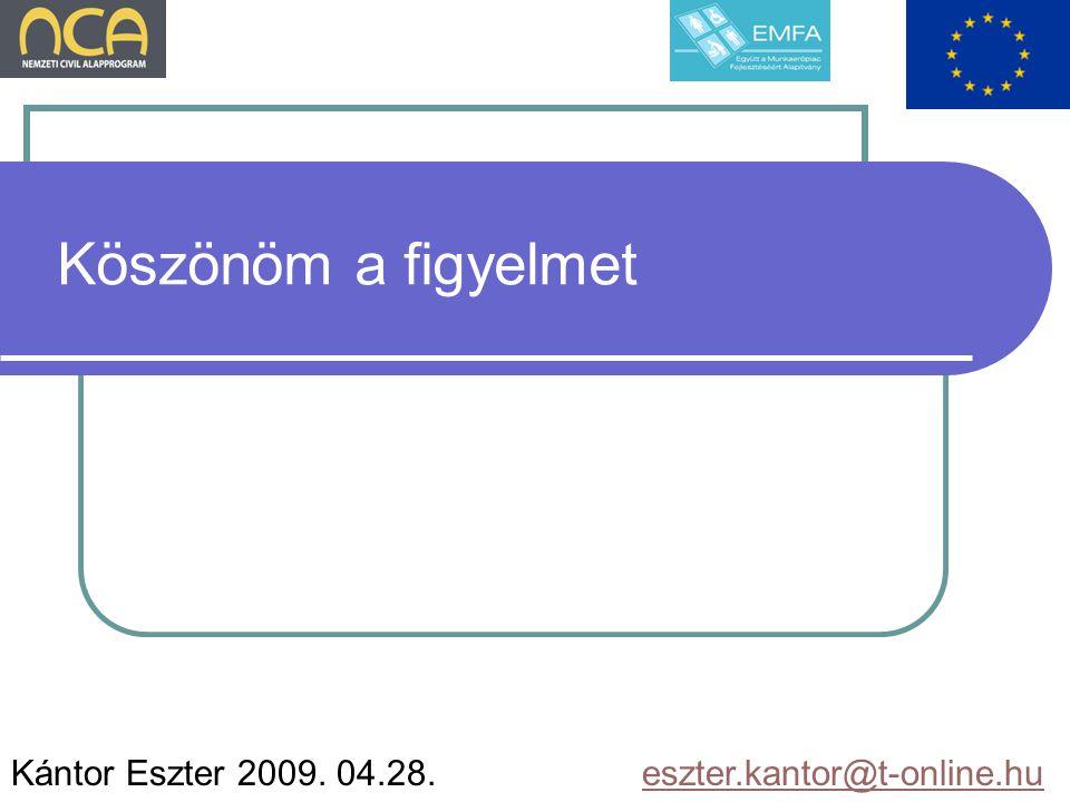 Köszönöm a figyelmet Kántor Eszter 2009. 04.28. eszter.kantor@t-online.hueszter.kantor@t-online.hu