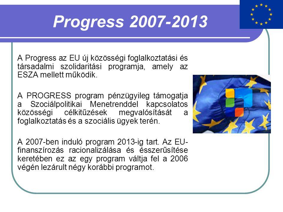 Progress 2007-2013 A Progress az EU új közösségi foglalkoztatási és társadalmi szolidaritási programja, amely az ESZA mellett működik. A PROGRESS prog