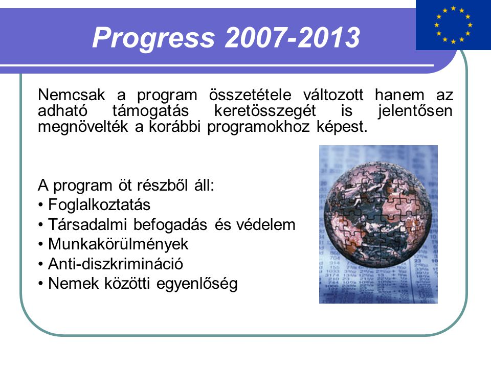 Progress 2007-2013 Nemcsak a program összetétele változott hanem az adható támogatás keretösszegét is jelentősen megnövelték a korábbi programokhoz képest.