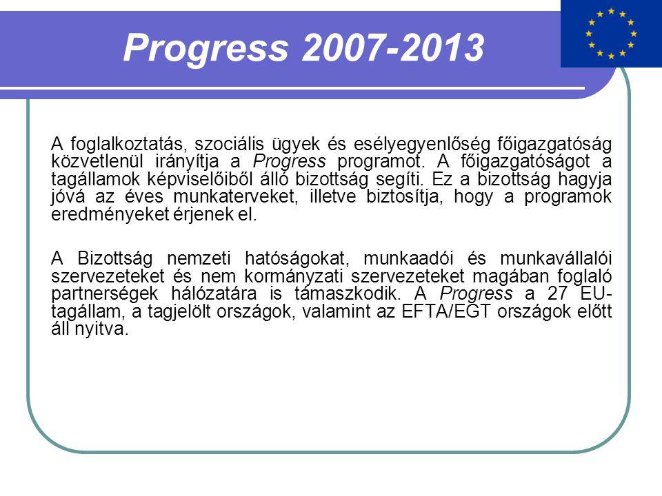 Progress 2007-2013 A foglalkoztatás, szociális ügyek és esélyegyenlőség főigazgatóság közvetlenül irányítja a Progress programot. A főigazgatóságot a
