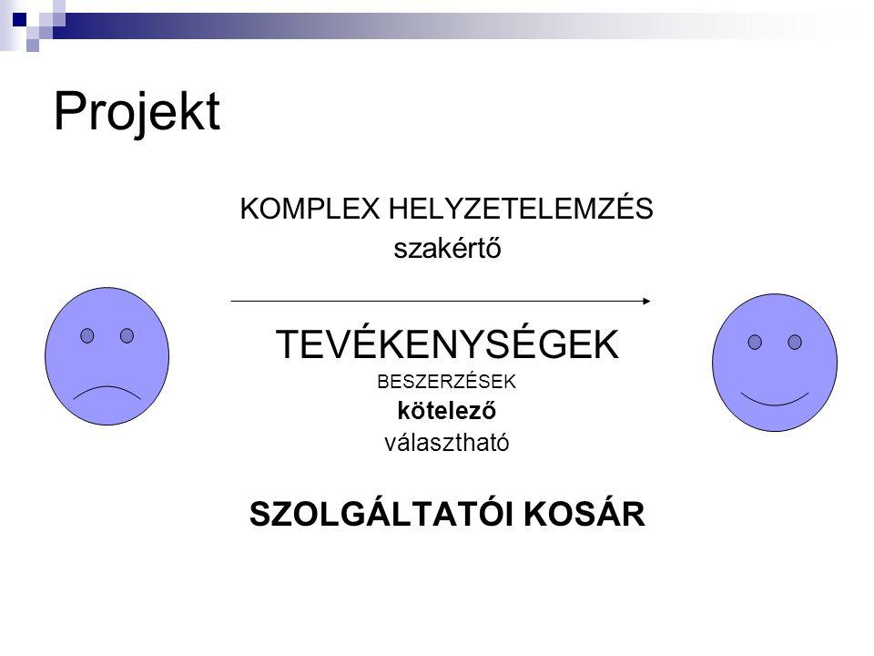 Projekt KOMPLEX HELYZETELEMZÉS szakértő TEVÉKENYSÉGEK BESZERZÉSEK kötelező választható SZOLGÁLTATÓI KOSÁR