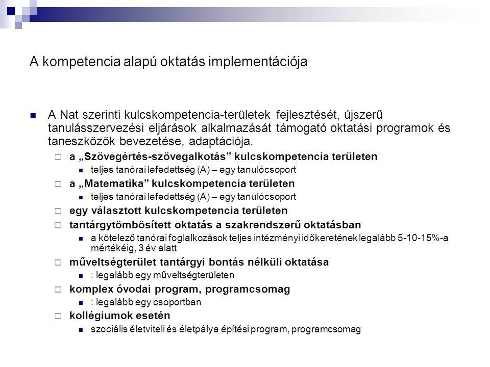 A kompetencia alapú oktatás implementációja  A Nat szerinti kulcskompetencia-területek fejlesztését, újszerű tanulásszervezési eljárások alkalmazását
