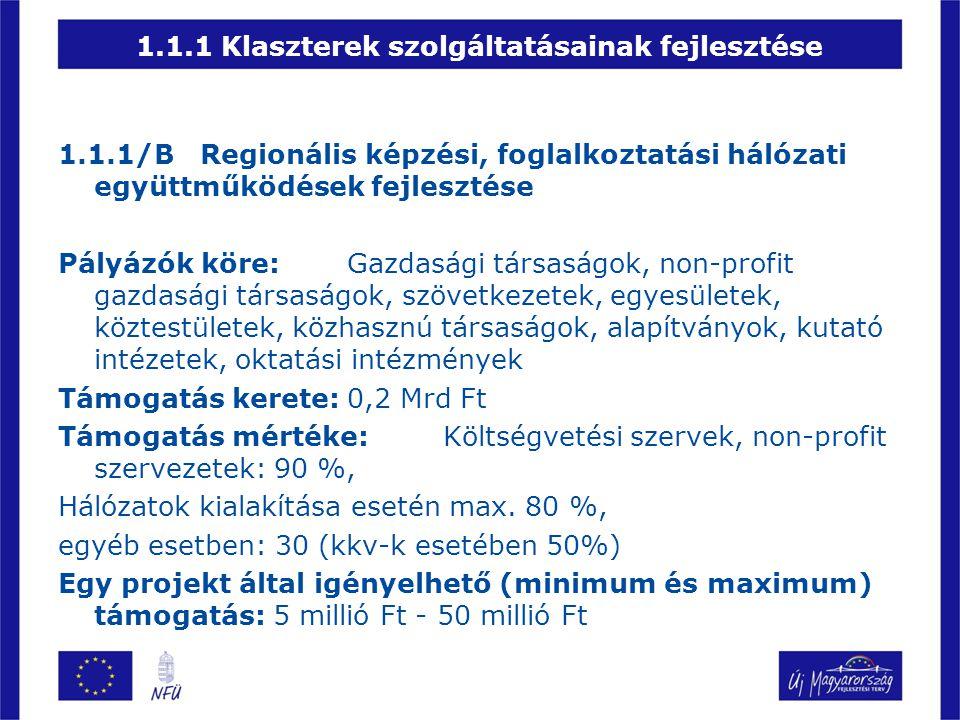 1.1.1 Klaszterek szolgáltatásainak fejlesztése 1.1.1/B Regionális képzési, foglalkoztatási hálózati együttműködések fejlesztése Pályázók köre:Gazdaság