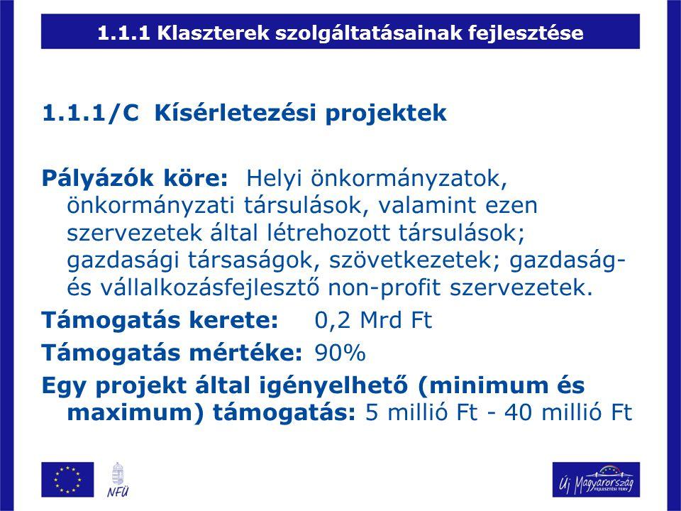 1.1.1 Klaszterek szolgáltatásainak fejlesztése 1.1.1/C Kísérletezési projektek Pályázók köre:Helyi önkormányzatok, önkormányzati társulások, valamint