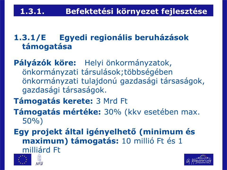 1.3.1.Befektetési környezet fejlesztése 1.3.1/EEgyedi regionális beruházások támogatása Pályázók köre: Helyi önkormányzatok, önkormányzati társulások;
