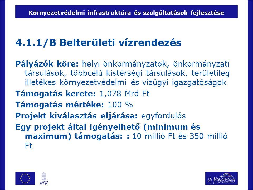 Környezetvédelmi infrastruktúra és szolgáltatások fejlesztése 4.1.1/B Belterületi vízrendezés Pályázók köre: helyi önkormányzatok, önkormányzati társulások, többcélú kistérségi társulások, területileg illetékes környezetvédelmi és vízügyi igazgatóságok Támogatás kerete: 1,078 Mrd Ft Támogatás mértéke: 100 % Projekt kiválasztás eljárása: egyfordulós Egy projekt által igényelhető (minimum és maximum) támogatás: : 10 millió Ft és 350 millió Ft