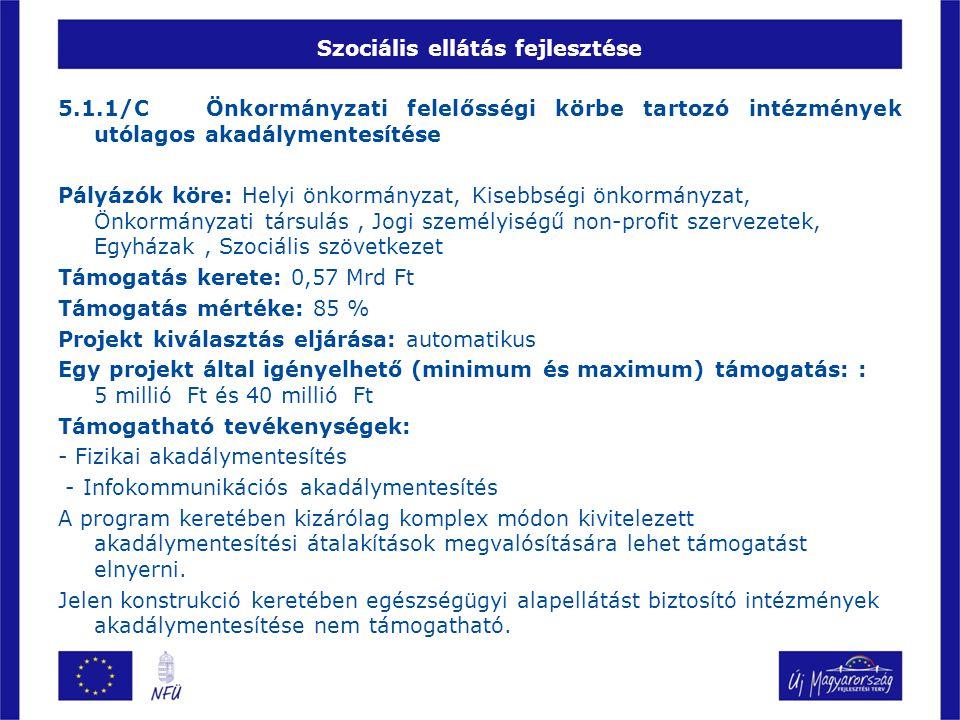 Szociális ellátás fejlesztése 5.1.1/C Önkormányzati felelősségi körbe tartozó intézmények utólagos akadálymentesítése Pályázók köre: Helyi önkormányza