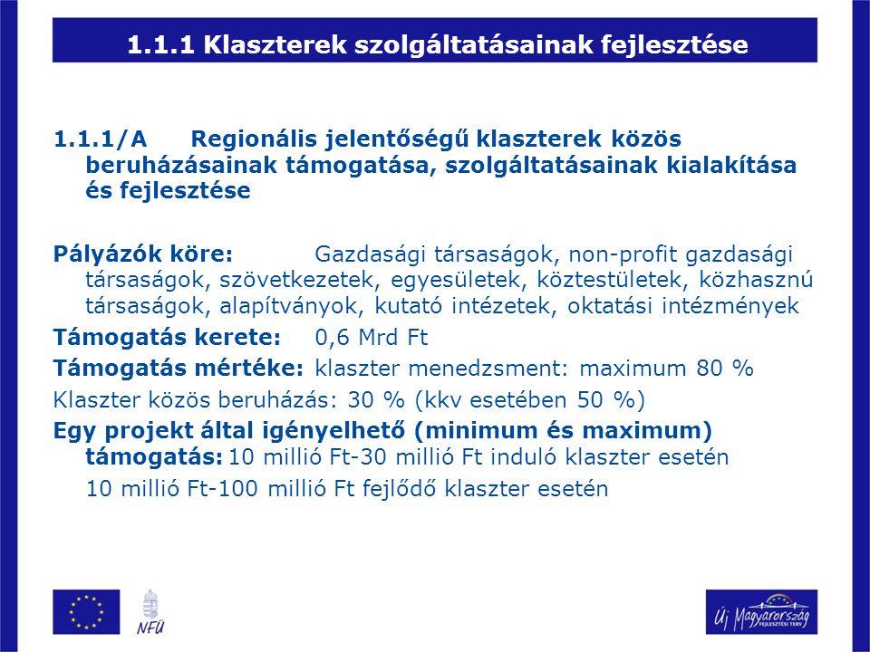 1.1.1 Klaszterek szolgáltatásainak fejlesztése 1.1.1/A Regionális jelentőségű klaszterek közös beruházásainak támogatása, szolgáltatásainak kialakítás