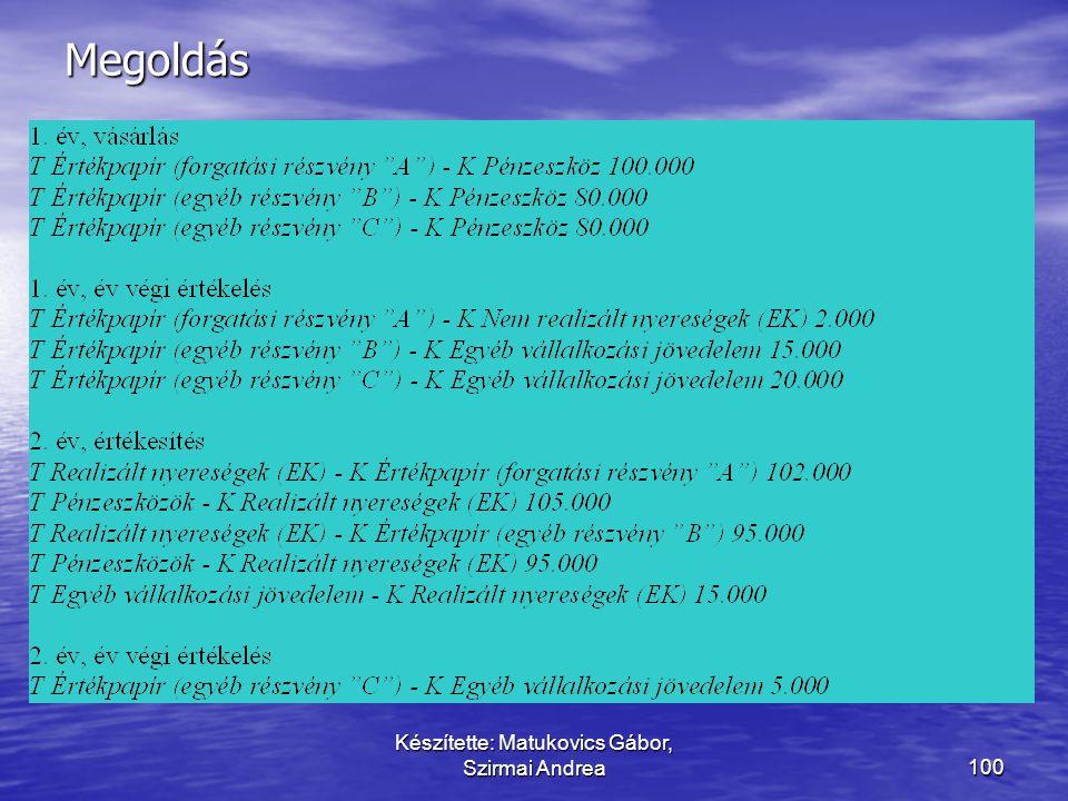 """Készítette: Matukovics Gábor, Szirmai Andrea99 Mutassa be az értékpapír elszámolását! • A vállalkozás részvényeket vásárol. • """"A"""" részvény bekerülési"""