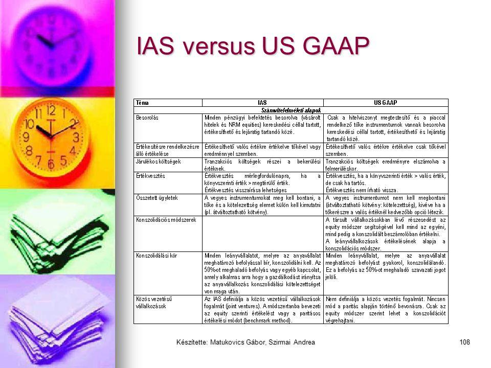 Készítette: Matukovics Gábor, Szirmai Andrea107 Miért más a nemzetközi a HAR-hoz képest?  A piaci értékelési különbözet közvetlenül saját tőkét érint