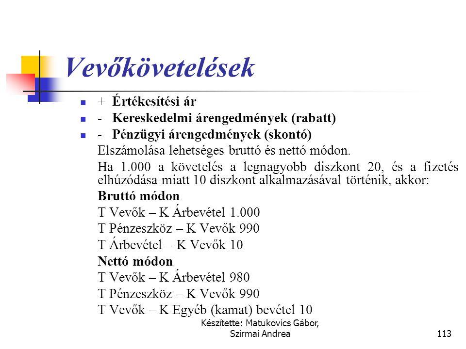 Készítette: Matukovics Gábor, Szirmai Andrea112 A bevétel elszámolásának kritériumai  A követelések elszámolása, elszámolhatósága lényegében a vállal