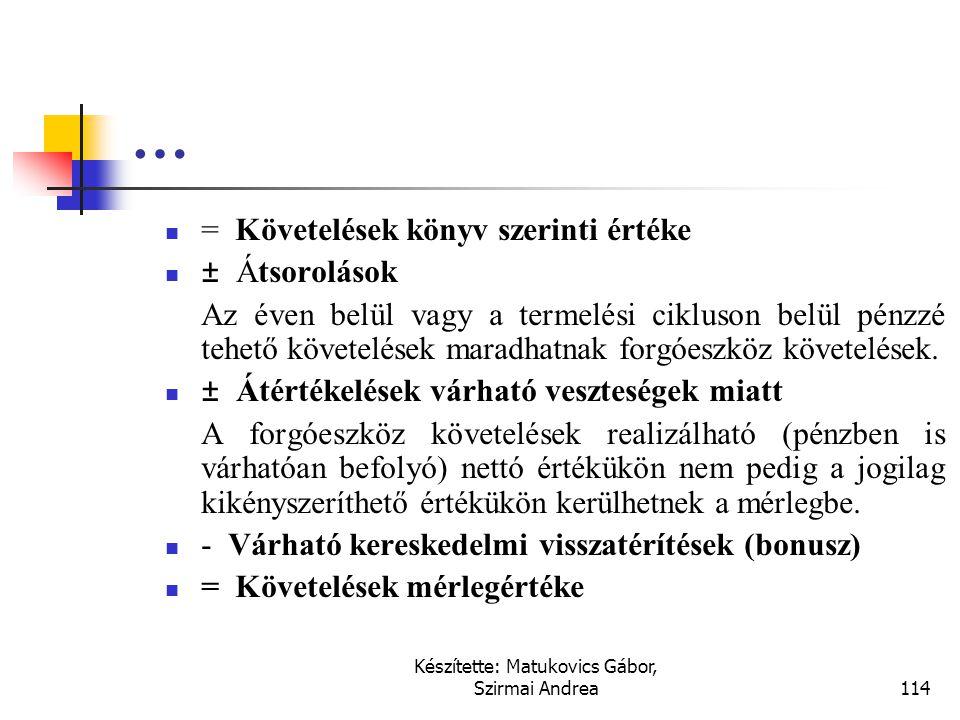 Készítette: Matukovics Gábor, Szirmai Andrea113 Vevőkövetelések  + Értékesítési ár  - Kereskedelmi árengedmények (rabatt)  - Pénzügyi árengedmények