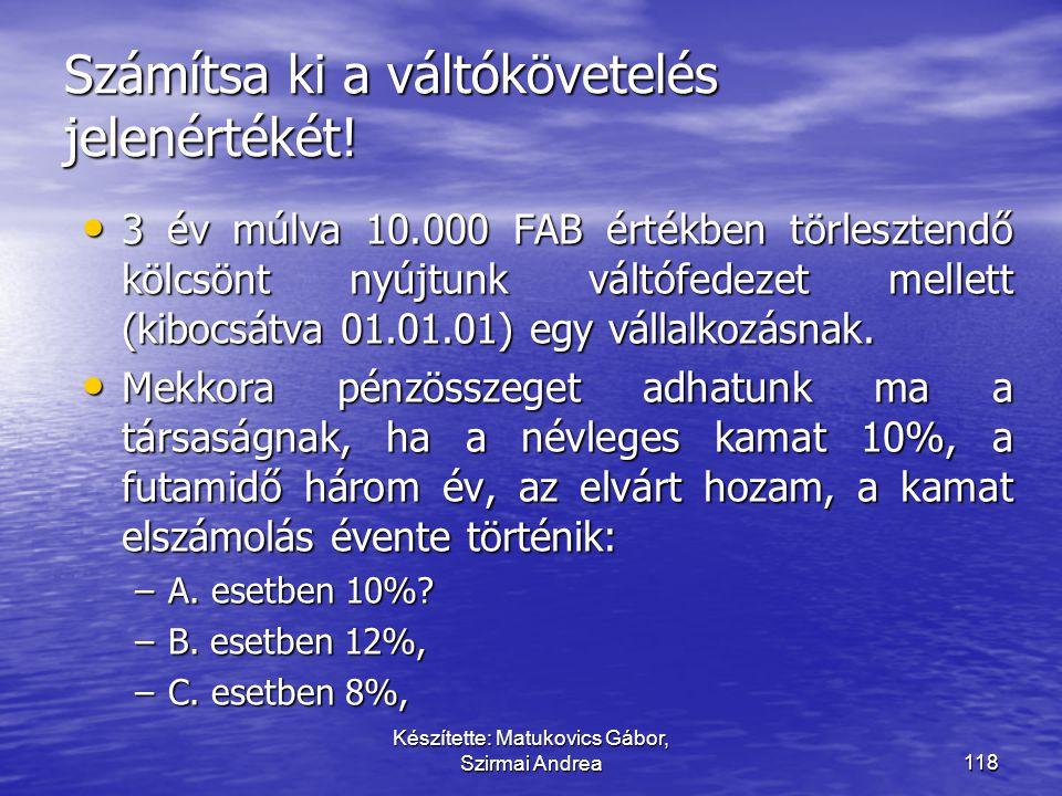 Készítette: Matukovics Gábor, Szirmai Andrea117 Hosszú lejáratú követelések