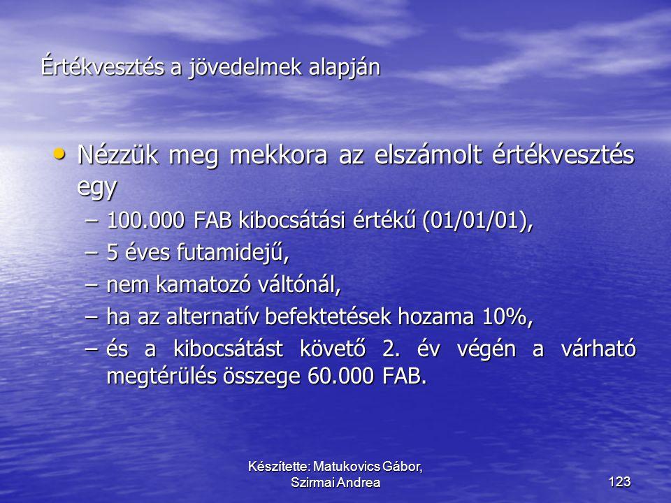 Készítette: Matukovics Gábor, Szirmai Andrea122 Megoldás C.