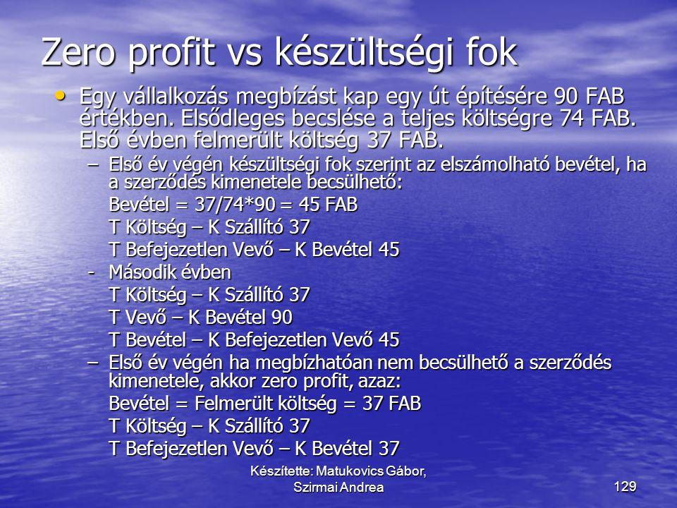 128 Zéró profit – költség alapú szerződés ProjektÉrtékelésEredmény Bevételek Bizonytalan Maximum ráfordítás Ráfordítások Tény ráfordítás Eredmény - =
