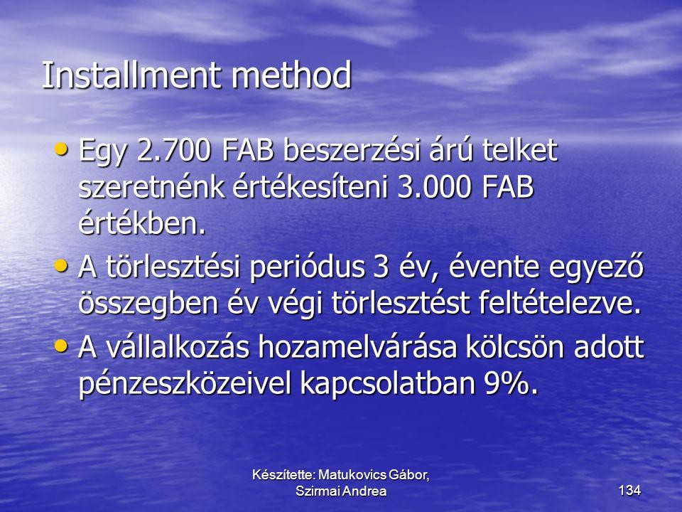 Készítette: Matukovics Gábor, Szirmai Andrea133 Részletfizetés sajátossága vs értékvesztés  A jövőbeni nemfizetés kockázatára alapvetően a követelés