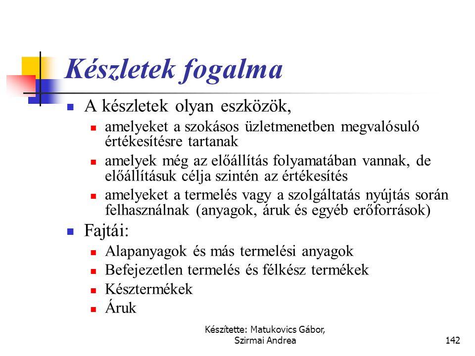 Készítette: Matukovics Gábor, Szirmai Andrea141 Fontosabb kapcsolódó nemzetközi szabályok  IFRS (IAS)  IAS 2 - Készletek  US GAAP  SFAS No. 101.,