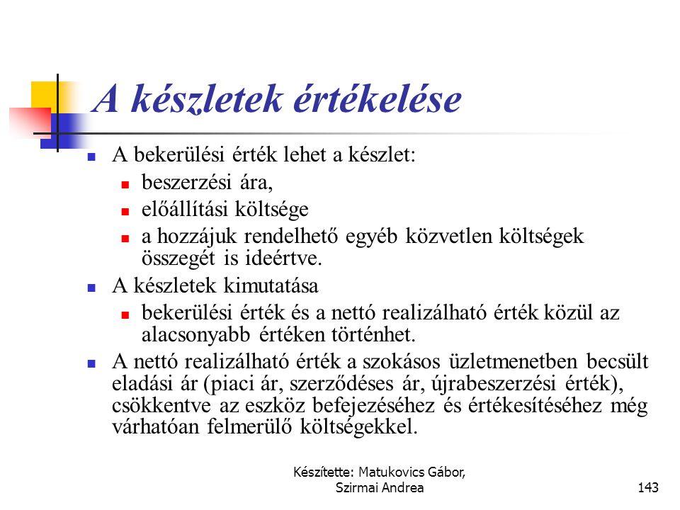 Készítette: Matukovics Gábor, Szirmai Andrea142 Készletek fogalma  A készletek olyan eszközök,  amelyeket a szokásos üzletmenetben megvalósuló érték