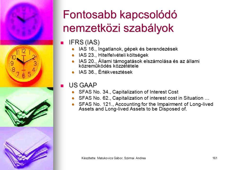 Készítette: Matukovics Gábor, Szirmai Andrea160 Ingatlanok, ingók a termelésben