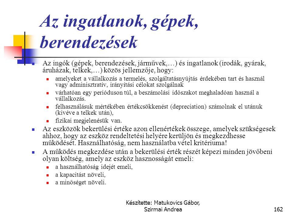 Készítette: Matukovics Gábor, Szirmai Andrea161 Fontosabb kapcsolódó nemzetközi szabályok  IFRS (IAS)  IAS 16., Ingatlanok, gépek és berendezések 