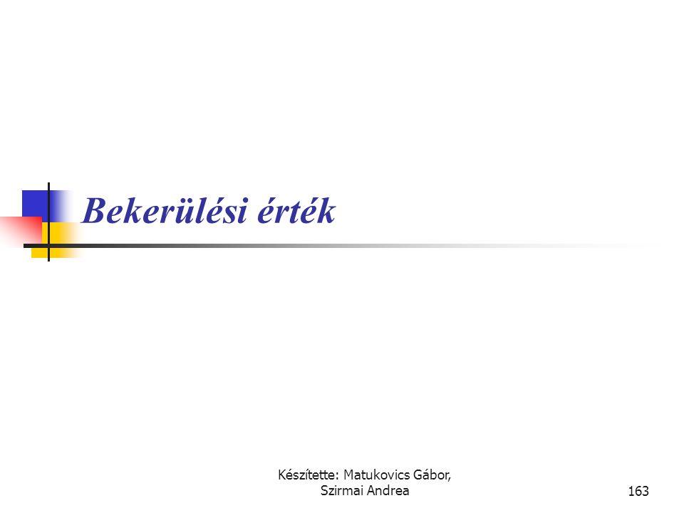 Készítette: Matukovics Gábor, Szirmai Andrea162 Az ingatlanok, gépek, berendezések  Az ingók (gépek, berendezések, járművek,…) és ingatlanok (irodák,